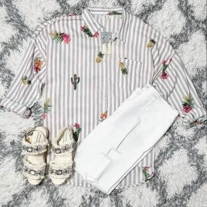 Stripped button top with cactus and pineapple
